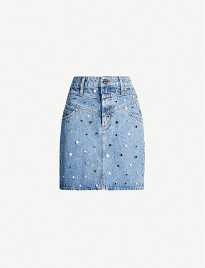 SANDRO Mirrored stud-embellished denim skirt