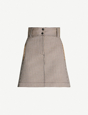 SANDRO Checked twill mini skirt