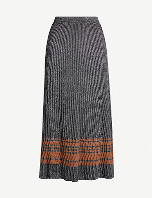 SANDRO Metallic contrast-panel stretch-knit skirt