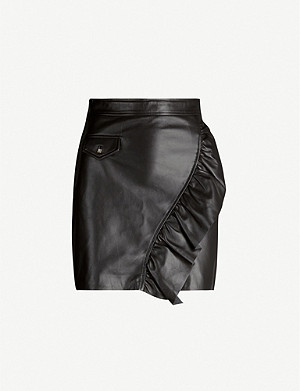 SANDRO Ruffled leather mini skirt