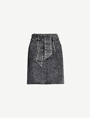 SANDRO Embellished waist-tie denim skirt
