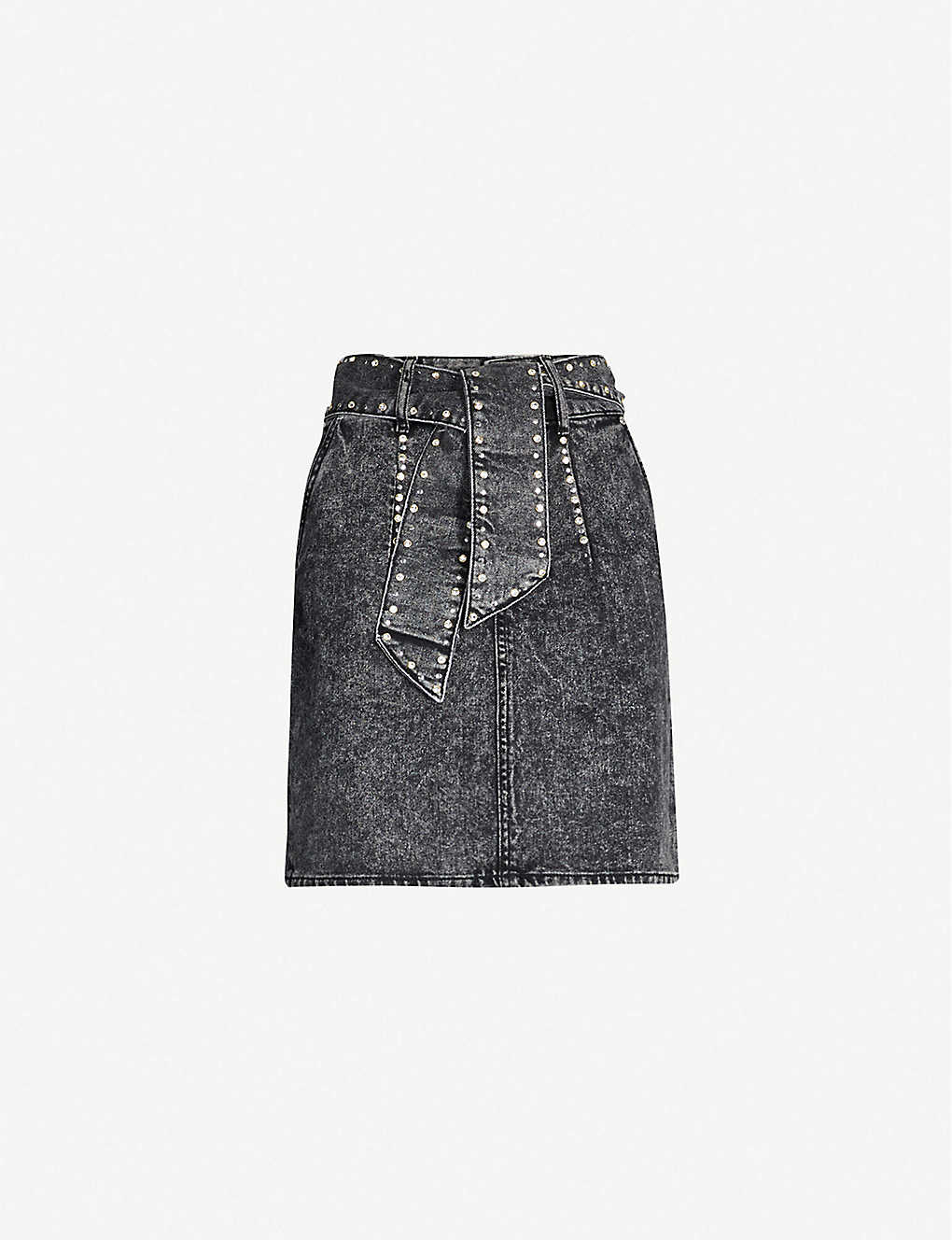 SANDRO: Embellished waist-tie denim skirt