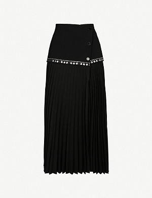SANDRO Pleated wrap-over crepe midi skirt