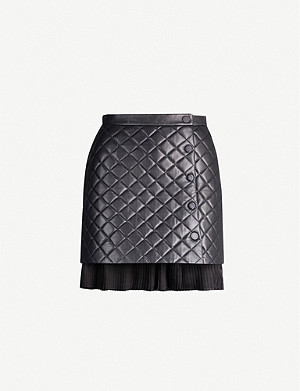 SANDRO Ruffled-hem quilted leather mini skirt