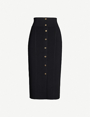 SANDRO High-rise stretch-knit skirt