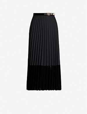 SANDRO Pleated velvet skirt