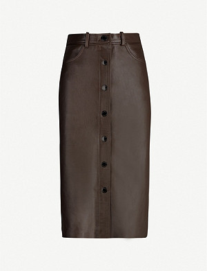 SANDRO Buttoned leather midi skirt