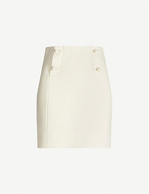SANDRO Dayna faux-pearl-button wool mini skirt