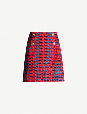 SANDRO Plaid wool mini skirt