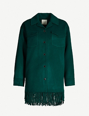 SANDRO Fringed-trim wool-blend jacket