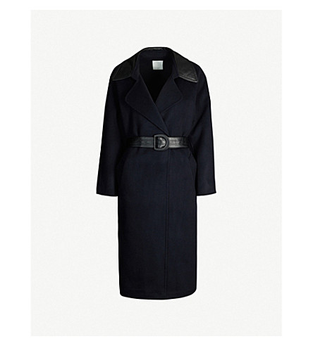Sandro Belted Wool-blend Coat In Navy Blue