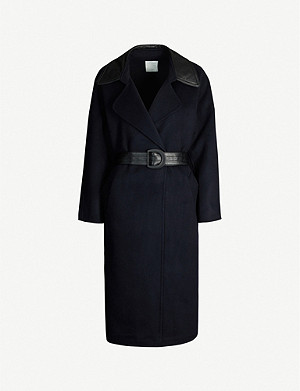 SANDRO Belted wool-blend coat