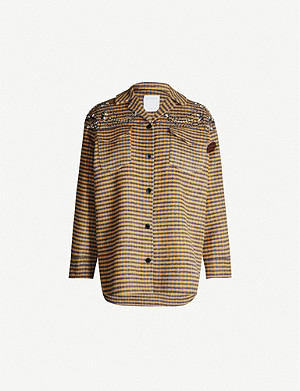 SANDRO Embellished checked wool-blend jacket