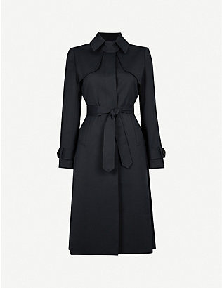 SANDRO: Pleated-panel twill trench coat