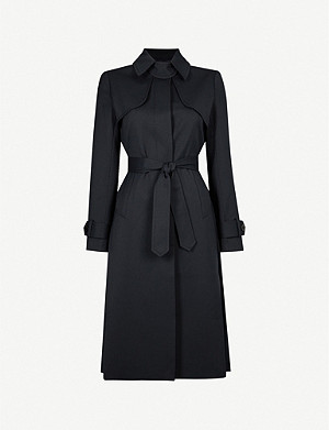 SANDRO Pleated-panel twill trench coat