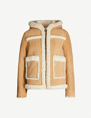 SANDRO Hooded shearling and suede jacket