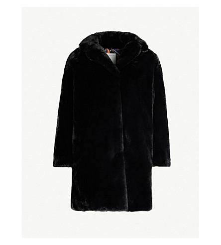 Sandro Notch-lapel Faux-fur Coat In 20 Noir