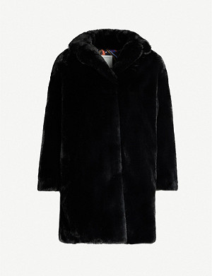SANDRO Notch-lapel faux-fur coat