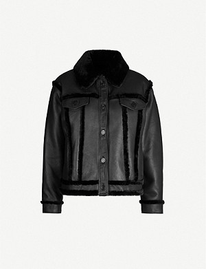 SANDRO Collared shearling leather jacket