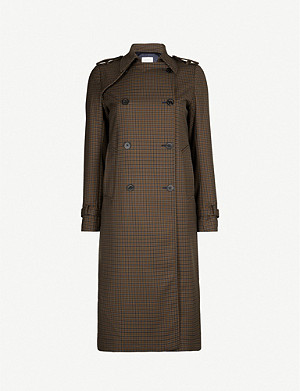 SANDRO Checked gabardine coat