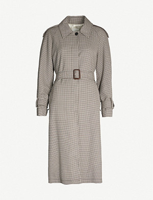 SANDRO Checked twill trench coat