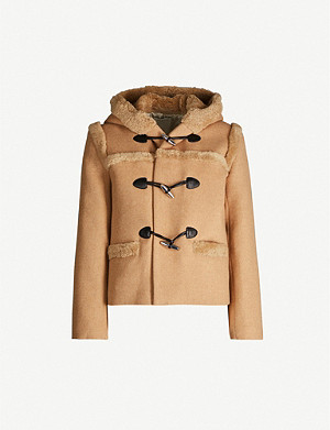 SANDRO Shearling-trim sheepskin duff coat