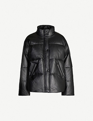SANDRO Funnel-neck padded leather jacket