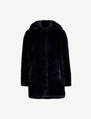 SANDRO Faux-fur hooded coat