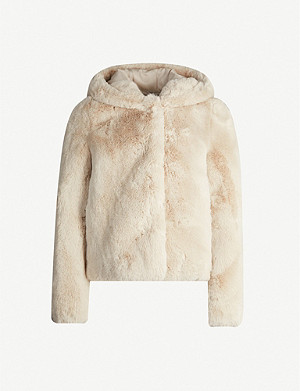 SANDRO Mirage double-breasted faux-fur coat