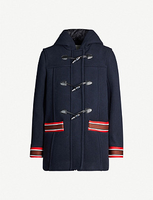 SANDRO Faust stripe-trimmed wool-blend coat
