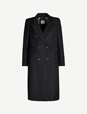 SANDRO Double-breasted wool-blend coat