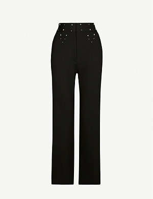 SANDRO Studdy straight stretch-woven trousers