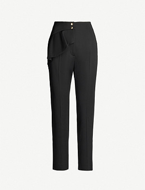 SANDRO Flared-trim high-rise woven trousers