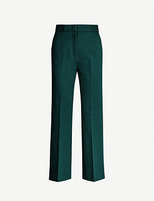 SANDRO Striped-trim wide-leg stretch-crepe trousers
