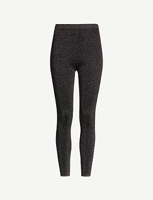 SANDRO Kezia metallic stretch-jersey leggings