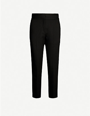 SANDRO: Tapered high-rise stretch-woven trousers