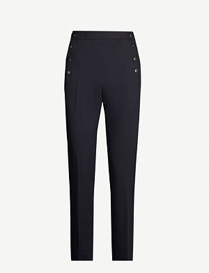 SANDRO Buttoned high-rise crepe trousers