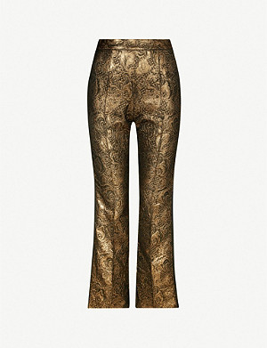 SANDRO Goldy straight woven jacquard trousers