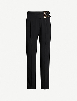 SANDRO Buckle high-rise tapered crepe trousers