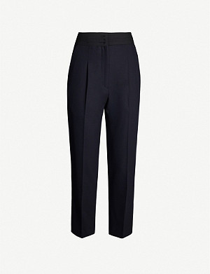 SANDRO High-rise woven tapered trousers