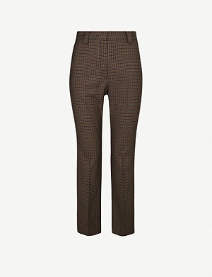 SANDRO Staino checked stretch-woven trousers