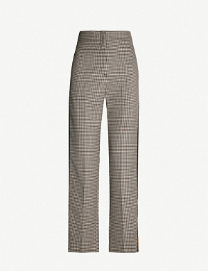 SANDRO Striped-trim checked straight woven trousers