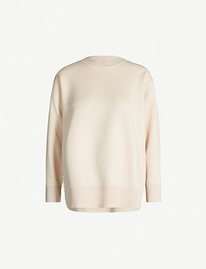 SANDRO Faux-pearl trimmed woven jumper