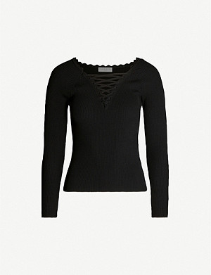 SANDRO Lace-up neck woven top