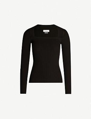 SANDRO Square-neck knitted jumper