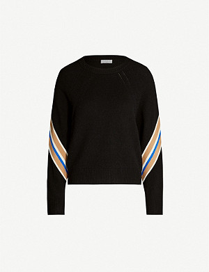 SANDRO Contrast striped-panel wool-blend jumper