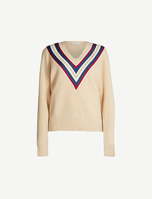 SANDRO Chain-embroidered wool-blend jumper