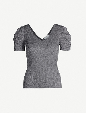 SANDRO Metallic puffed-sleeved stretch-knit top