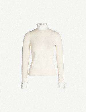 SANDRO Ruffled high-neck wool-blend jumper