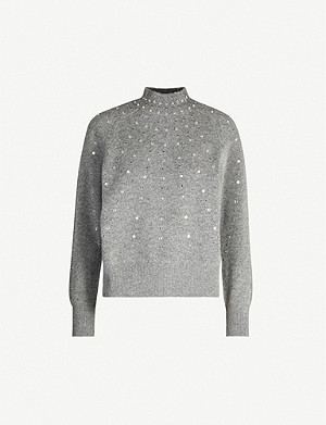 SANDRO Fever gem-embellished wool-blend jumper